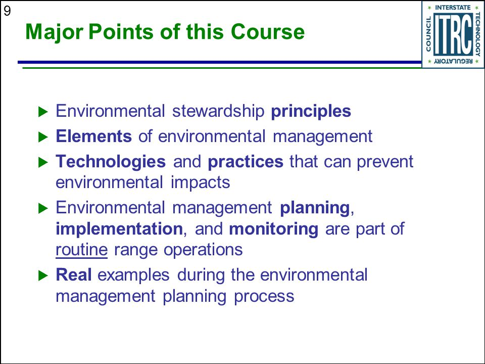Environmental Management At Operating Outdoor Small Arms