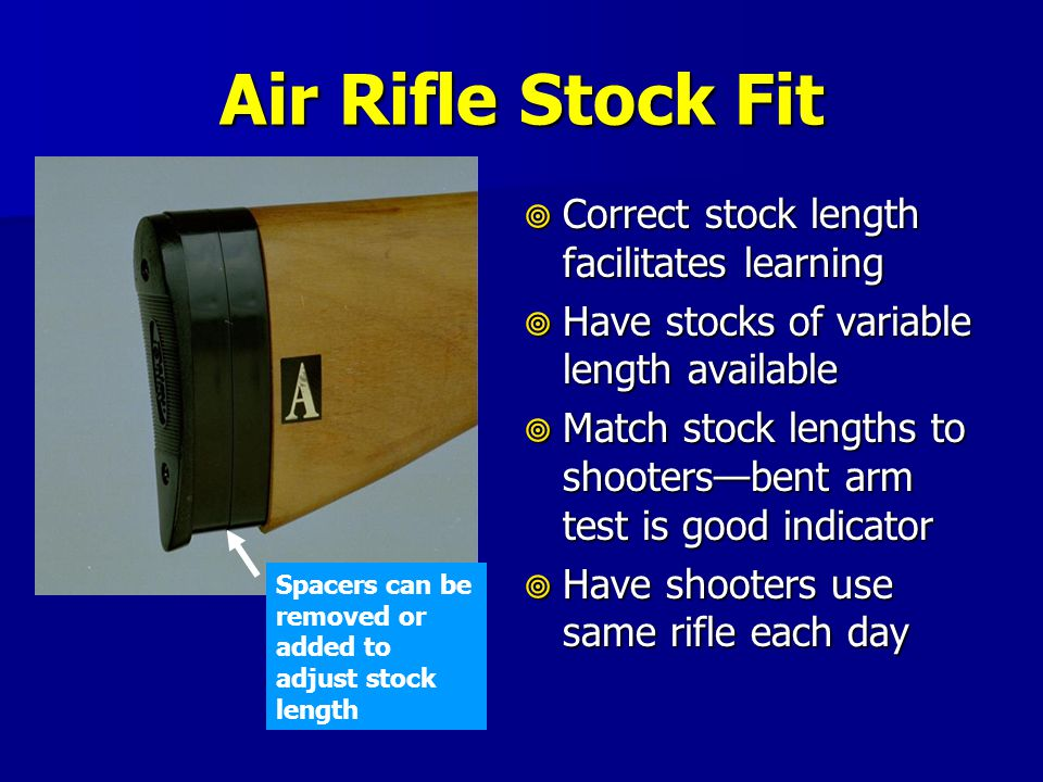 Air Rifle Stock Fit Correct stock length facilitates learning