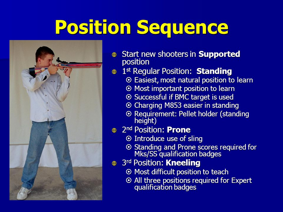 Position Sequence Start new shooters in Supported position
