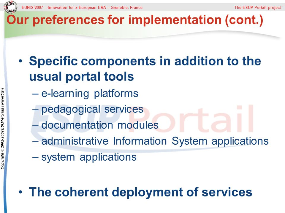 Our preferences for implementation (cont.)