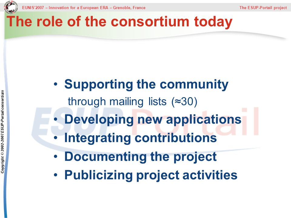 The role of the consortium today