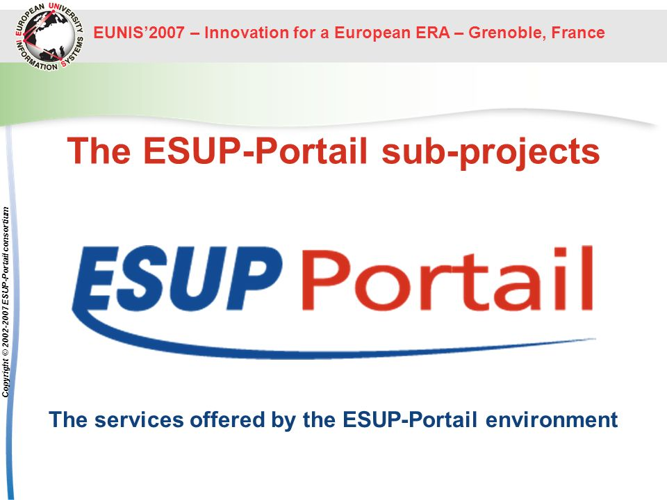 The ESUP-Portail sub-projects
