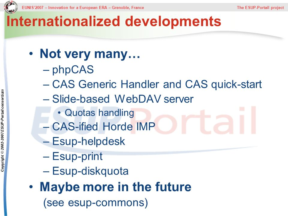 Internationalized developments