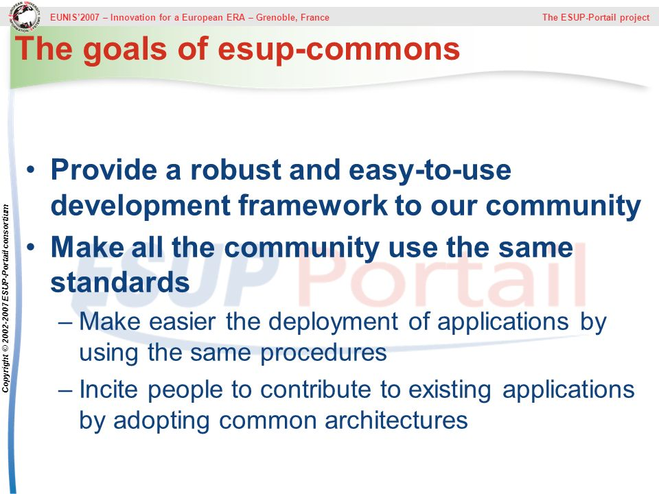 The goals of esup-commons