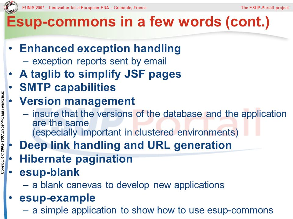 Esup-commons in a few words (cont.)