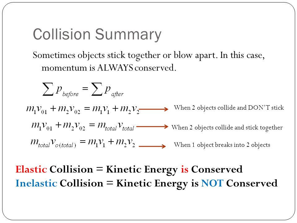 Collision Summary Elastic Collision = Kinetic Energy is Conserved