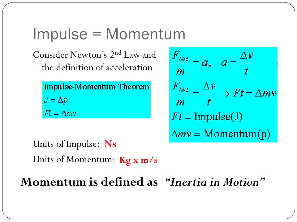 Impulse = Momentum Momentum is defined as Inertia in Motion Ns