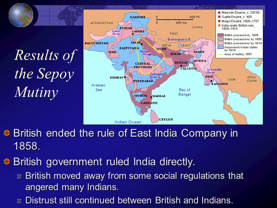 causes and results of the sepoy mutiny Indian mutiny, 1857–58, revolt that began with indian soldiers in the bengal army of the british east india company but developed into a widespread uprising against british rule in india it is also known as the sepoy rebellion, sepoys being the native soldiers the indian soldiers were.