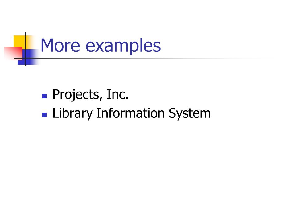 More examples Projects, Inc. Library Information System
