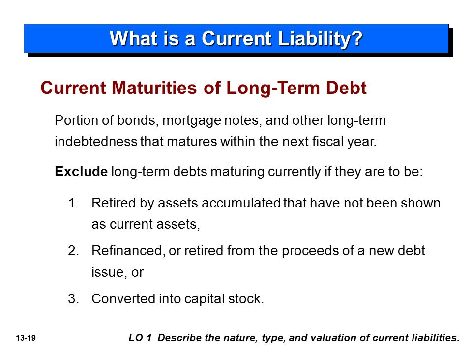 current and long term liabilities Notes payable are classified as current liabilities when the amounts are due within one year of the balance sheet date when the debt is long‐term (payable after one year) but requires a payment within the twelve‐month period following the balance sheet date, the amount of the payment is classified as a current liability in the balance sheet.