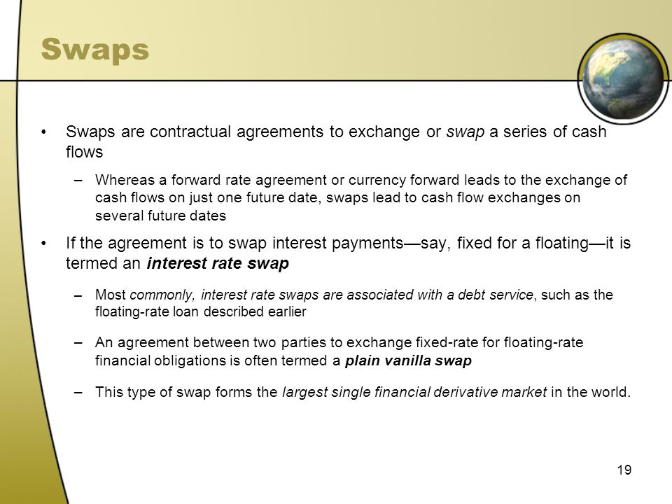 Swaps Swaps are contractual agreements to exchange or swap a series of cash flows.