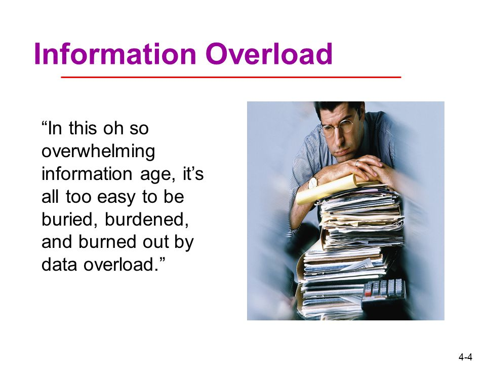 Information Overload In this oh so overwhelming information age, it's all too easy to be buried, burdened, and burned out by data overload.