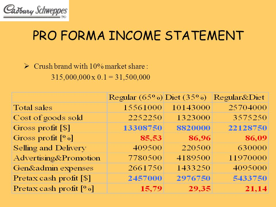 Pro forma financial statements template