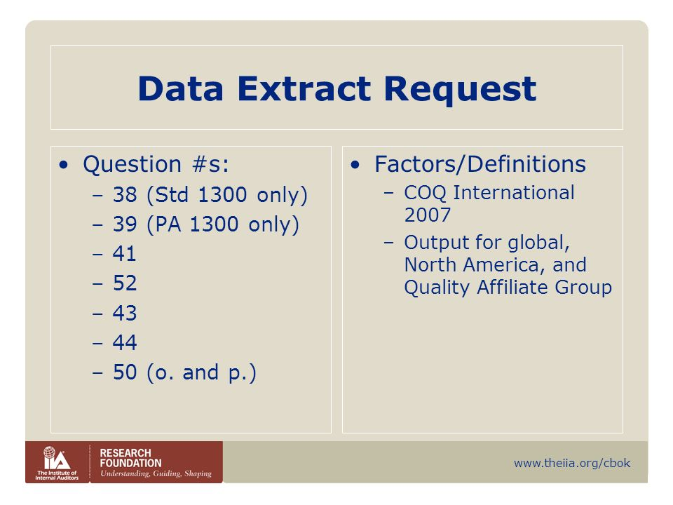 Data Extract Request Question #s: Factors/Definitions