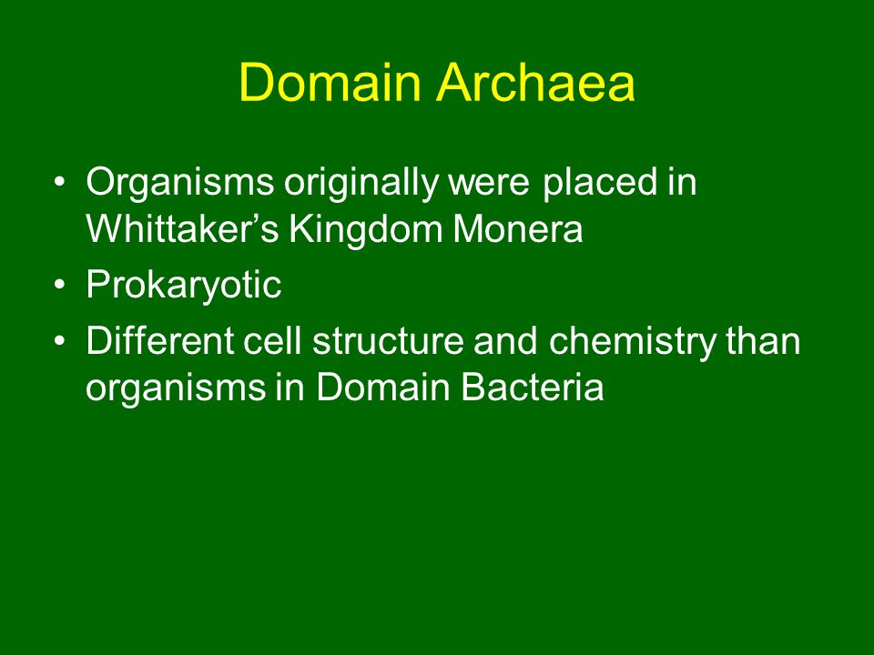Domain Archaea Organisms originally were placed in Whittaker's Kingdom Monera. Prokaryotic.