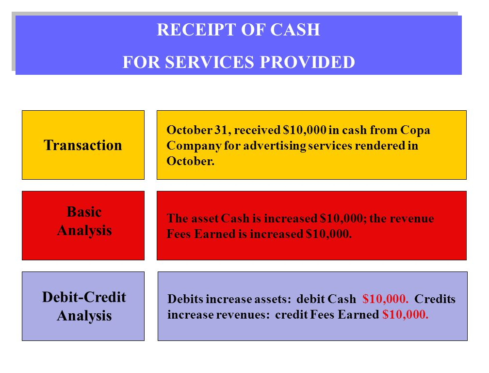 receipt for services provided