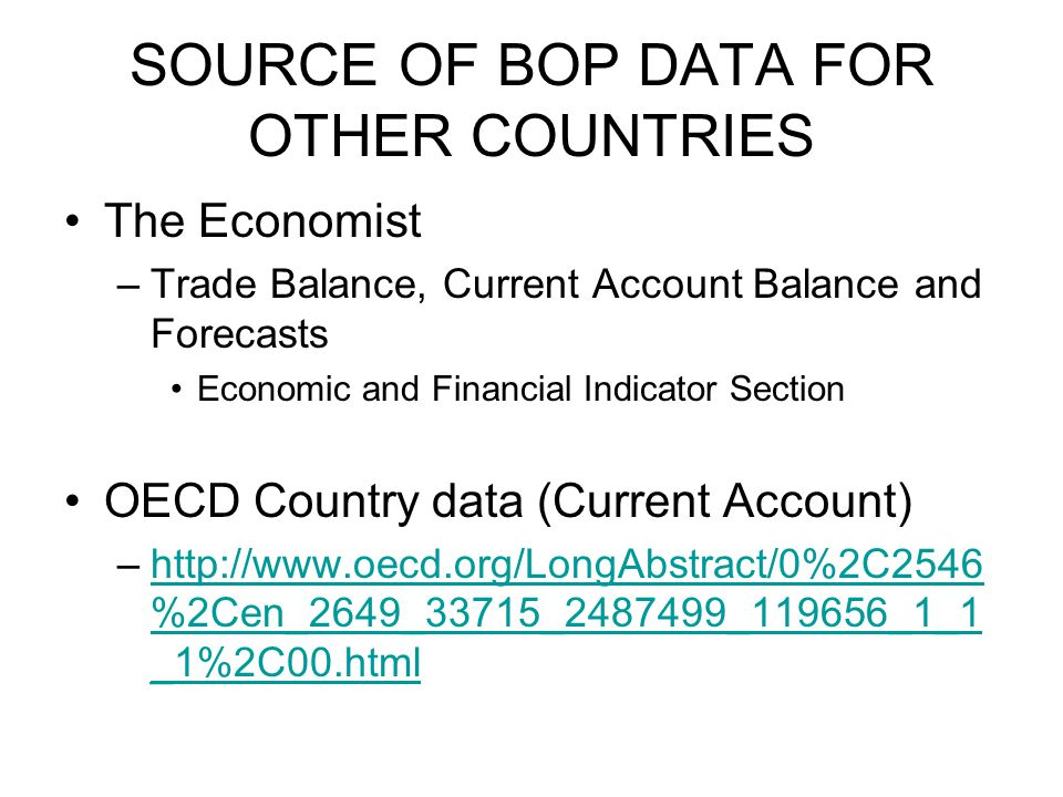 SOURCE OF BOP DATA FOR OTHER COUNTRIES