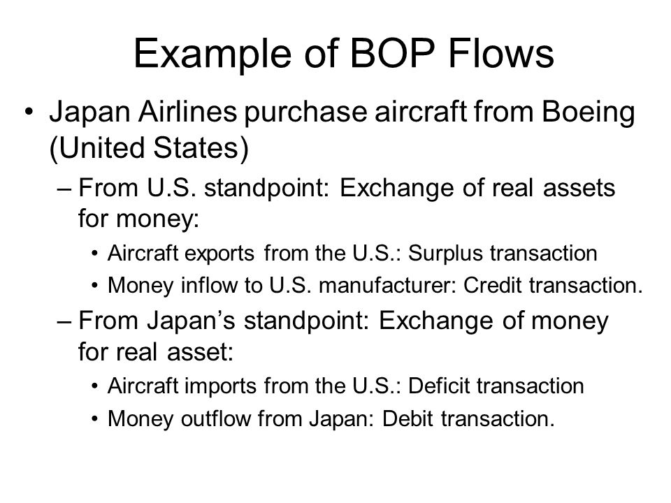 Example of BOP Flows Japan Airlines purchase aircraft from Boeing (United States) From U.S. standpoint: Exchange of real assets for money:
