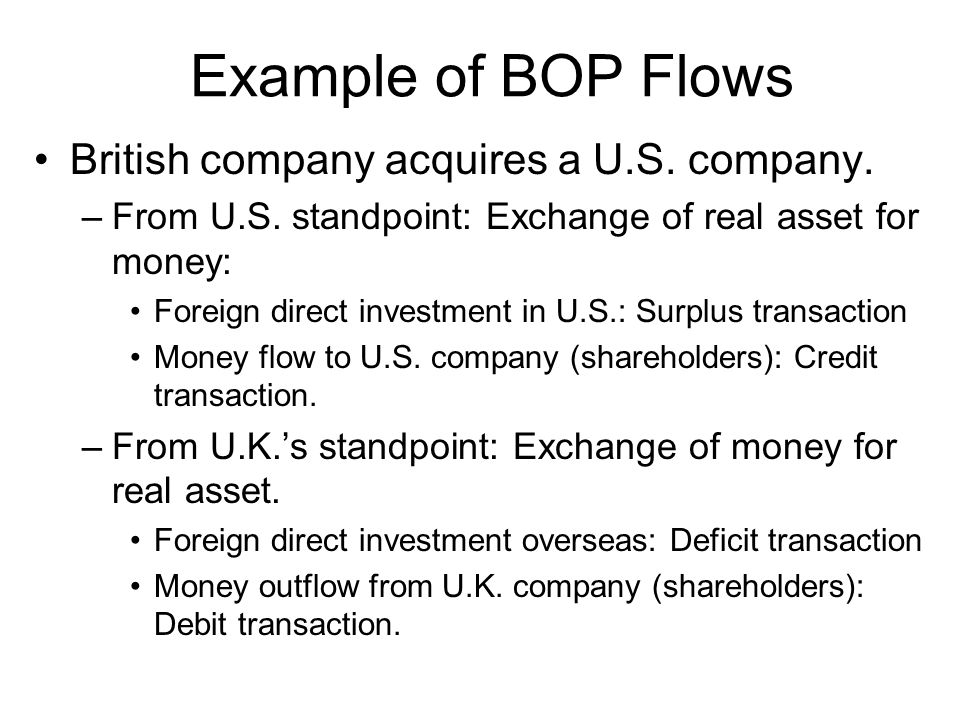 Example of BOP Flows British company acquires a U.S. company.