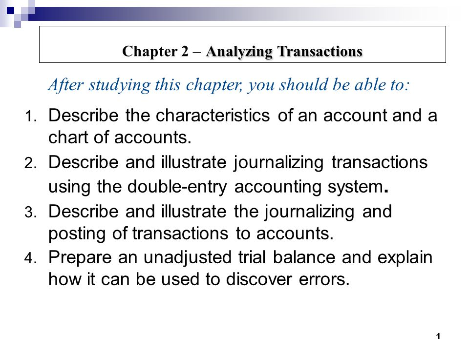 Chapter 2 – Analyzing Transactions