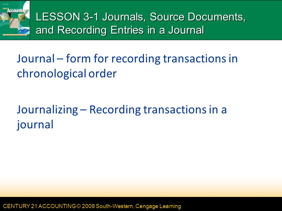 Chapter 3 - Journals, Source Documents, and Recording Entries in a ...