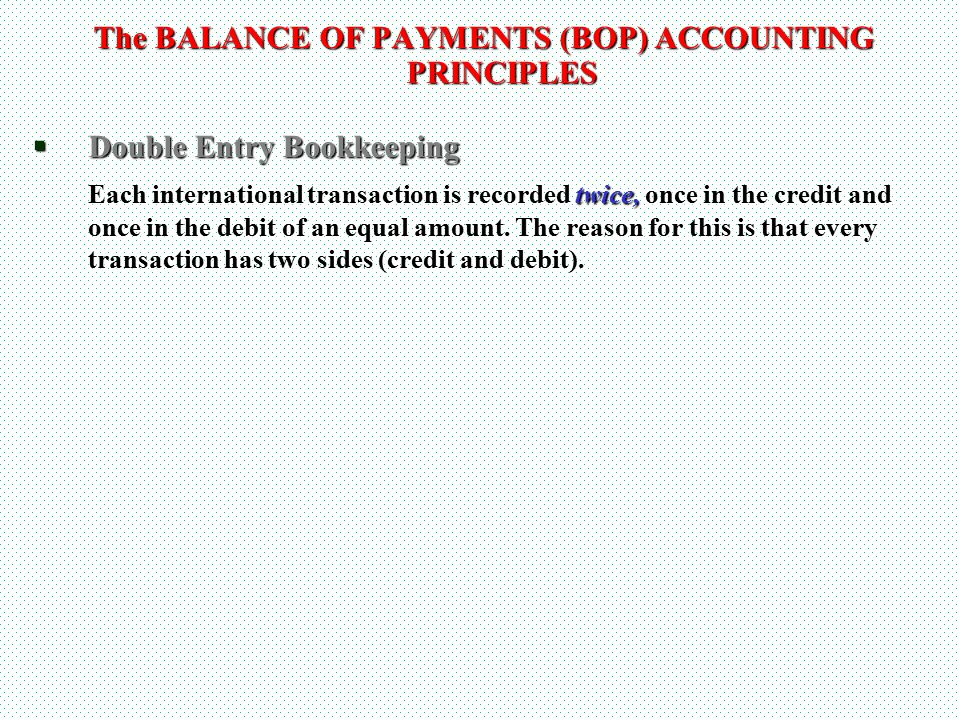 The BALANCE OF PAYMENTS (BOP) ACCOUNTING PRINCIPLES