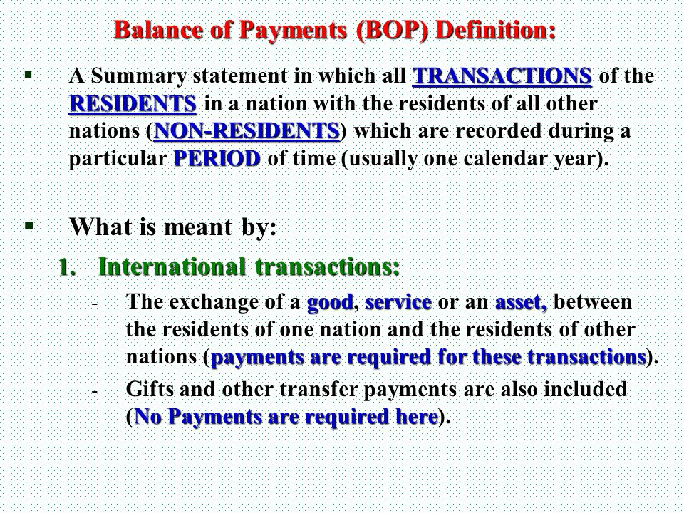 Balance of Payments (BOP) Definition: