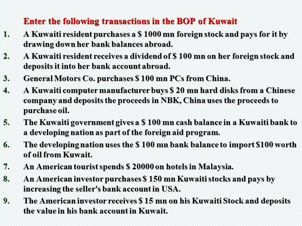Enter the following transactions in the BOP of Kuwait