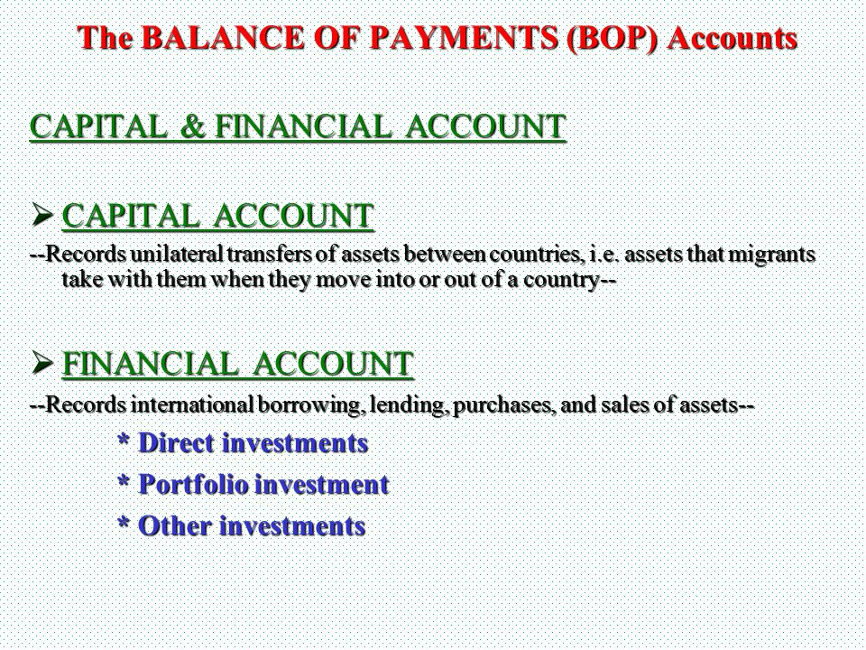 The BALANCE OF PAYMENTS (BOP) Accounts