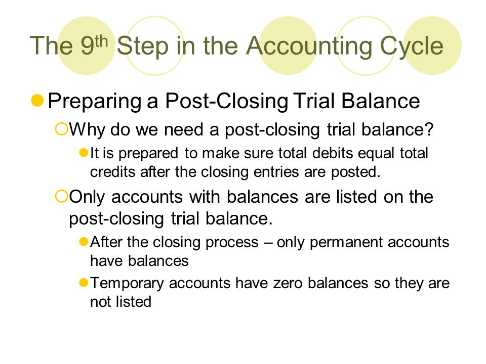 9 step of the accounting cycle Xacc280 week six checkpoint: the nine steps of the accounting cycle • complete  the nine steps of the accounting - answered by a verified financial professional.