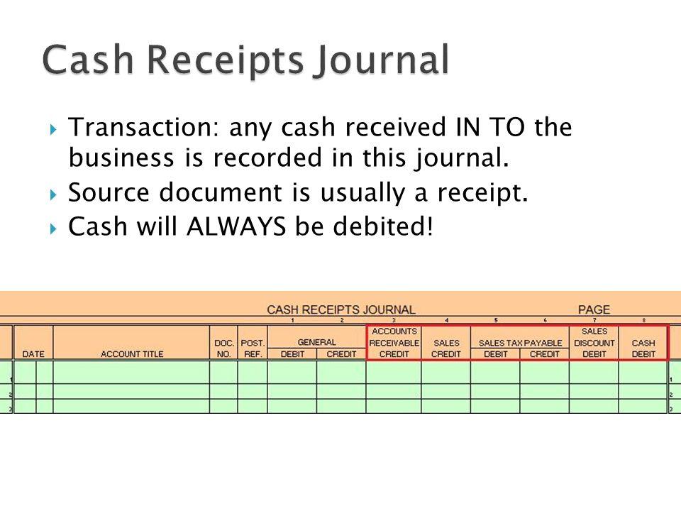 5 Cash Receipts ...  Cash Received Receipt