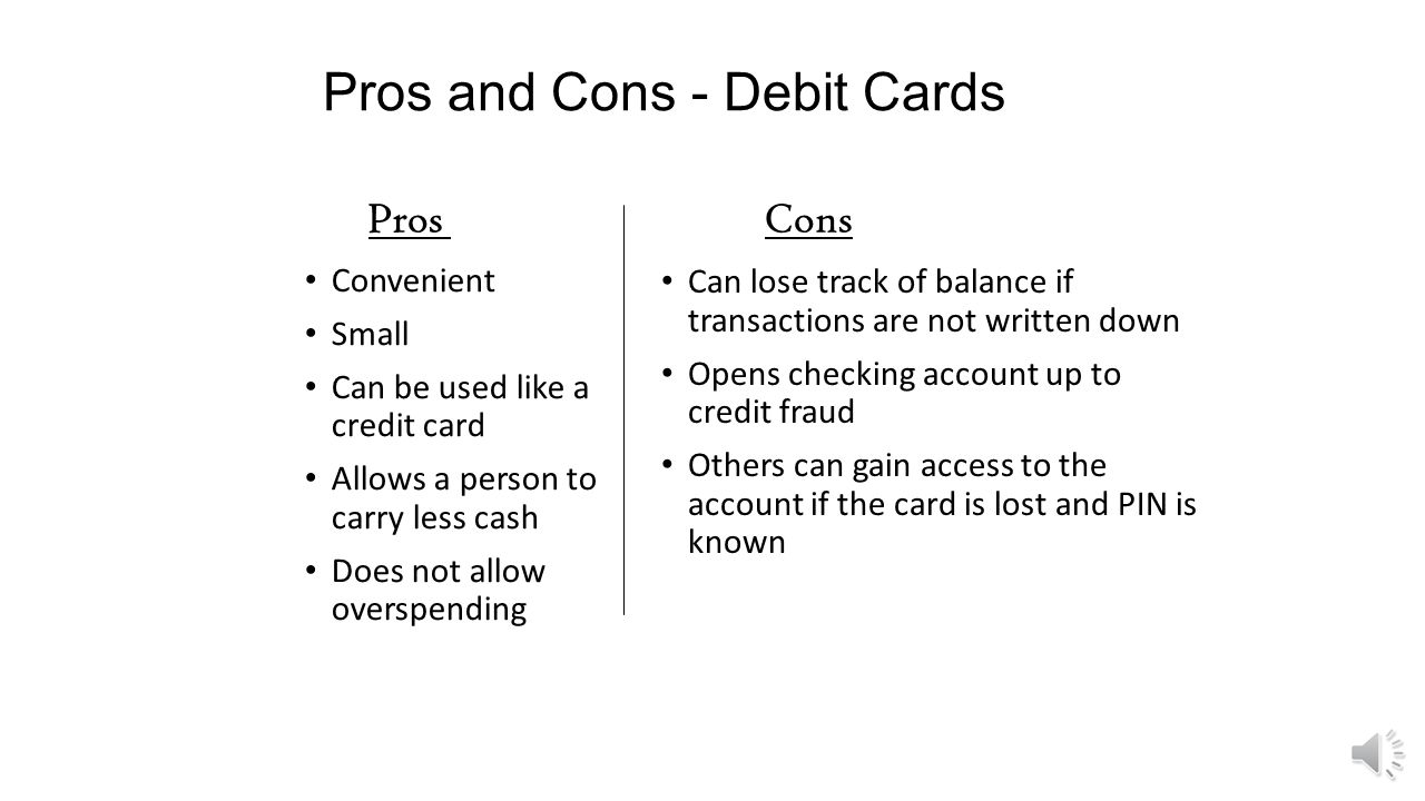 Pros And Cons Debit Cards