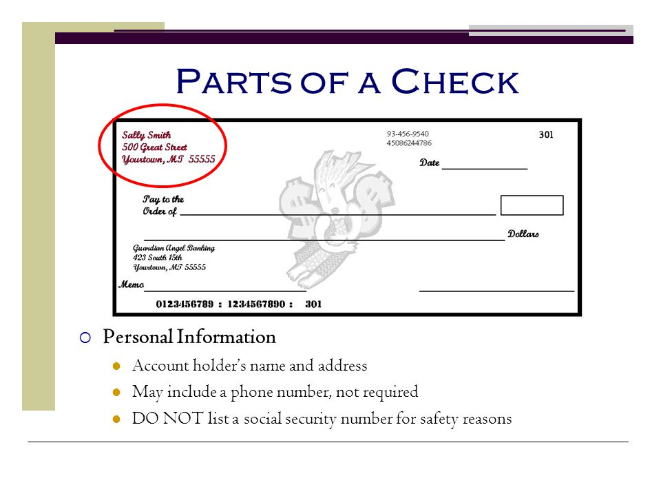 Parts of a Check Personal Information