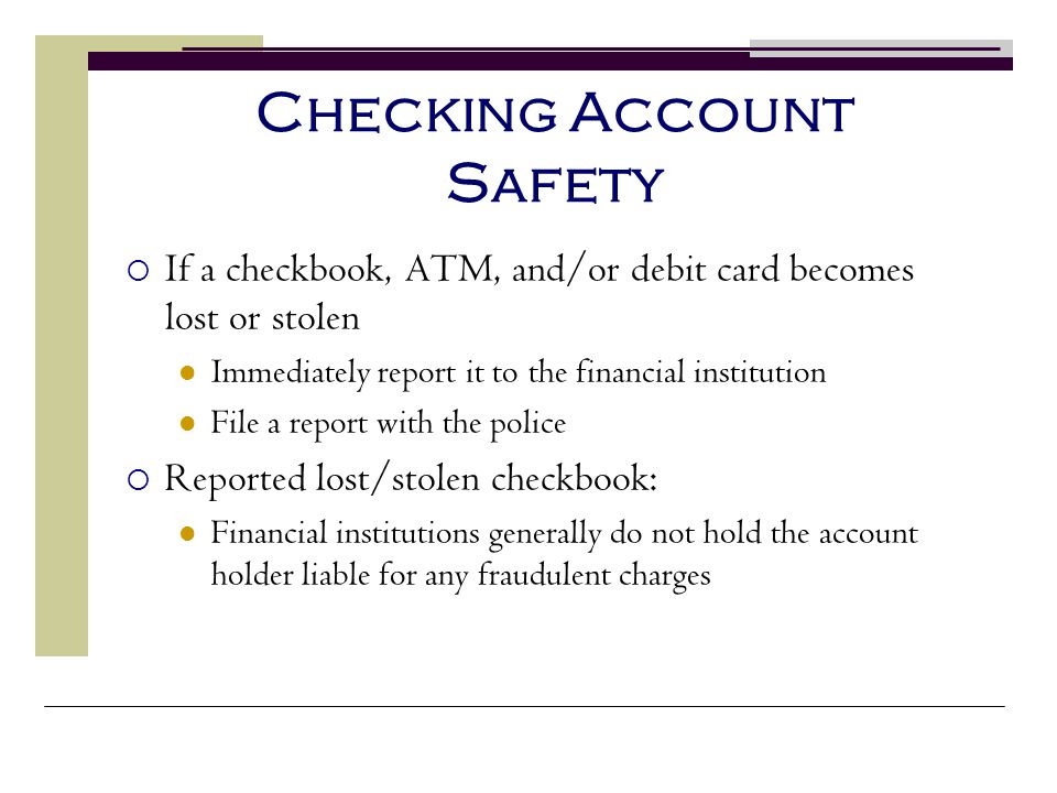 Checking Account Safety