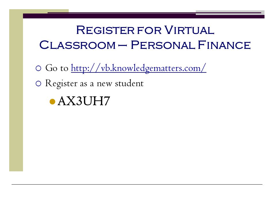 Register for Virtual Classroom – Personal Finance