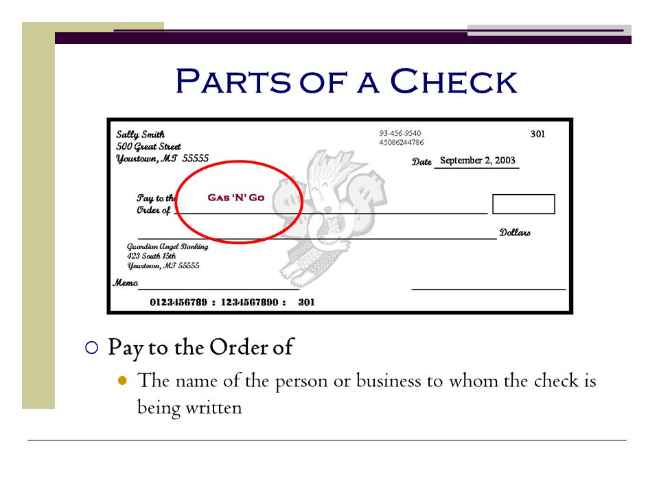Parts of a Check Pay to the Order of