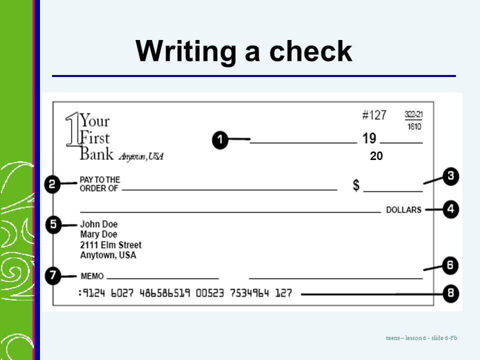 Writing a personal check to someone