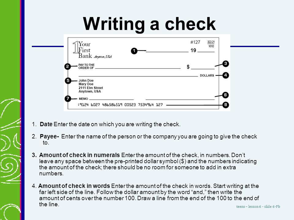 how to write cents on a check