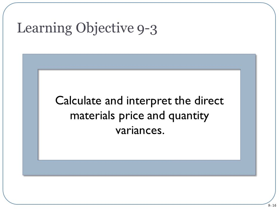 Learning Objective 9-3 Calculate and interpret the direct materials price and quantity variances.
