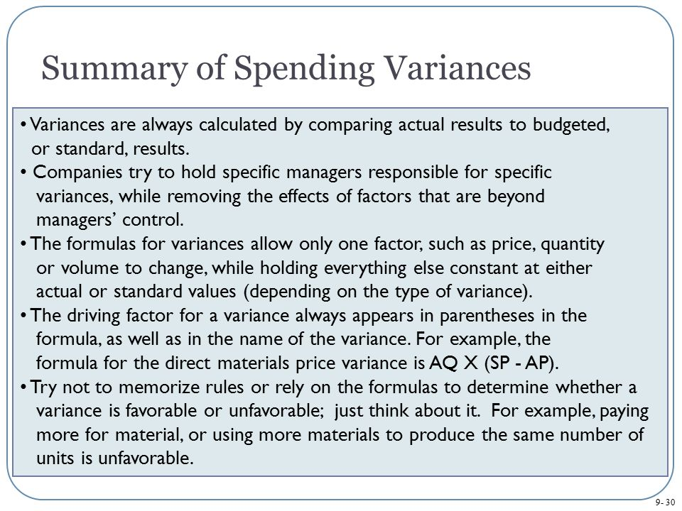 Summary of Spending Variances