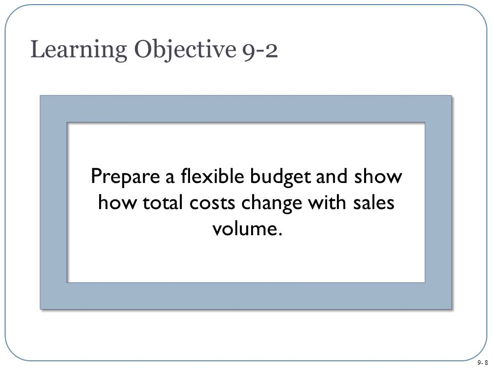 Learning Objective 9-2 Prepare a flexible budget and show how total costs change with sales volume.