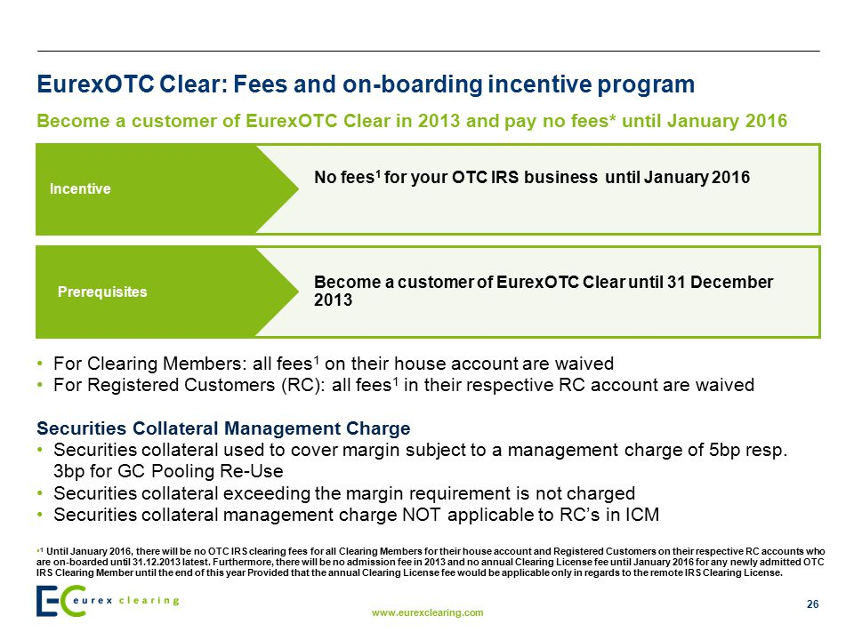 EurexOTC Clear: Fees and on-boarding incentive program