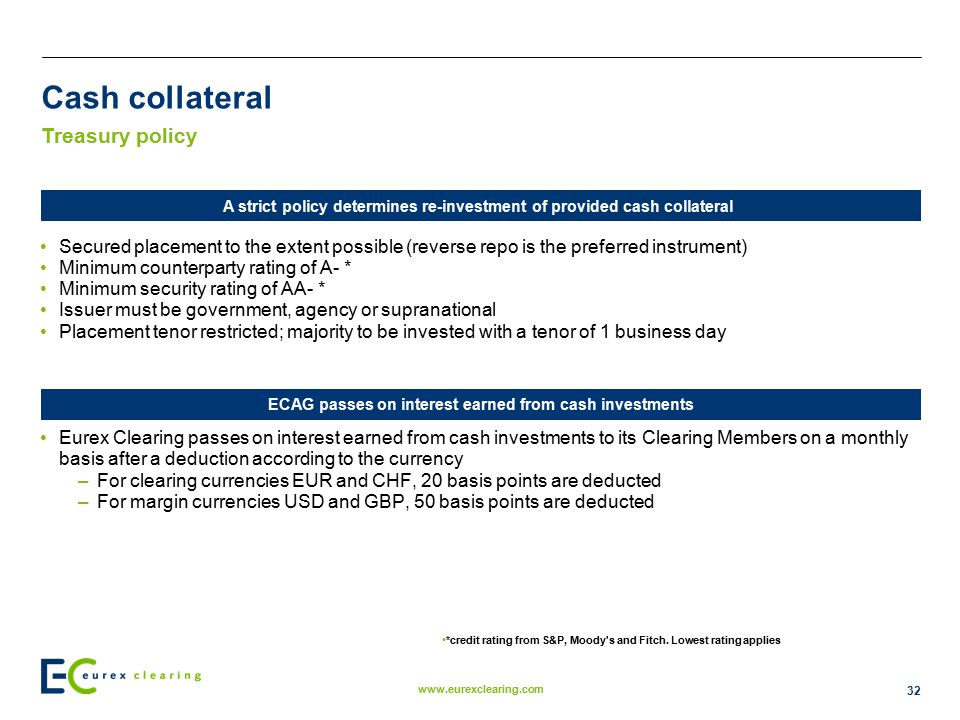 Cash collateral Treasury policy
