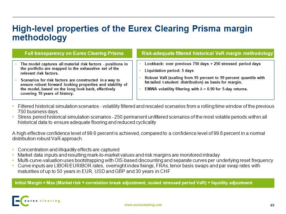 High-level properties of the Eurex Clearing Prisma margin methodology