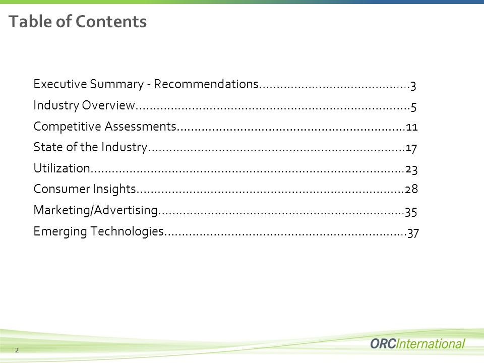 Executive Summary and Table of Contents