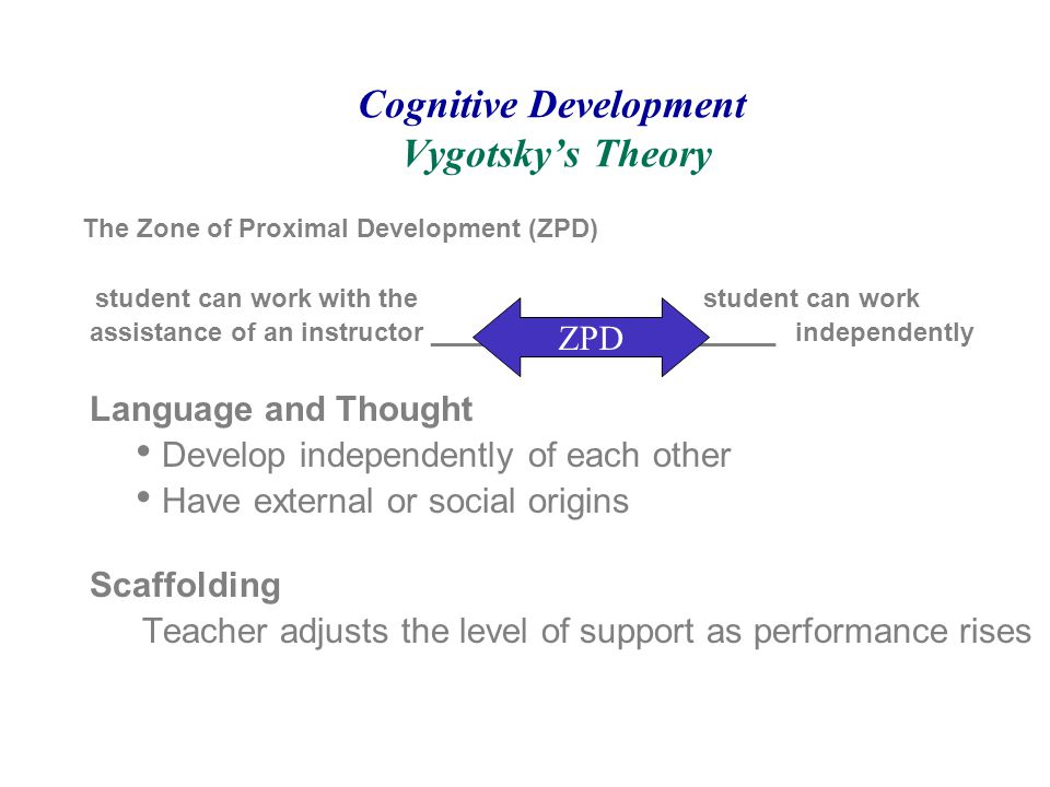 the application of vygotskys theory to A contemporary educational application of vygotsky's theories is reciprocal  teaching, used to improve students' ability.