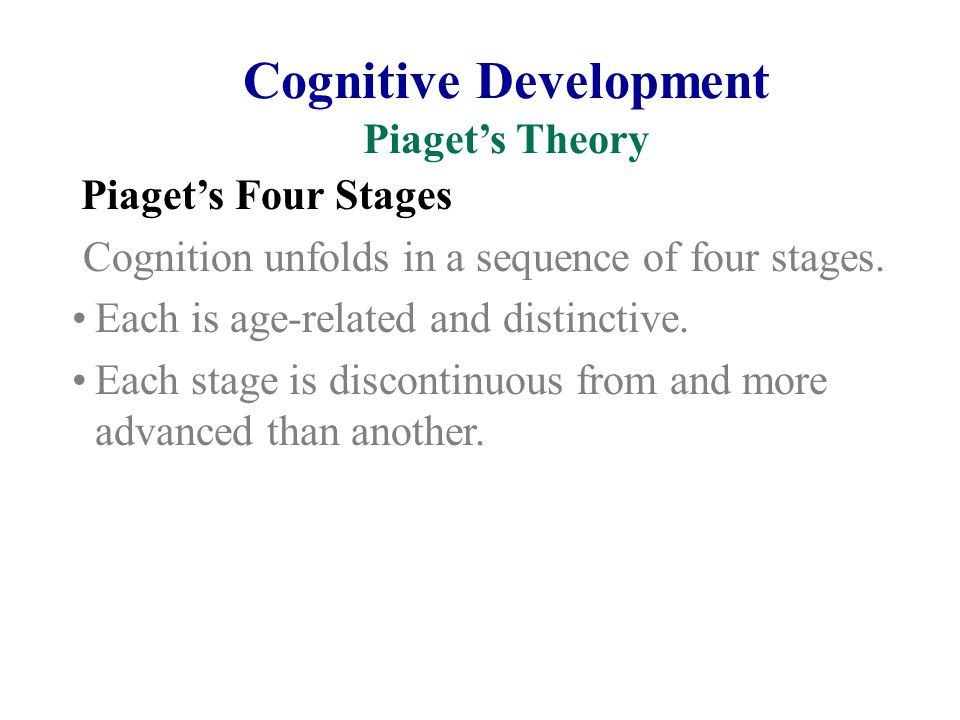 Cognitive Development Piaget's Theory