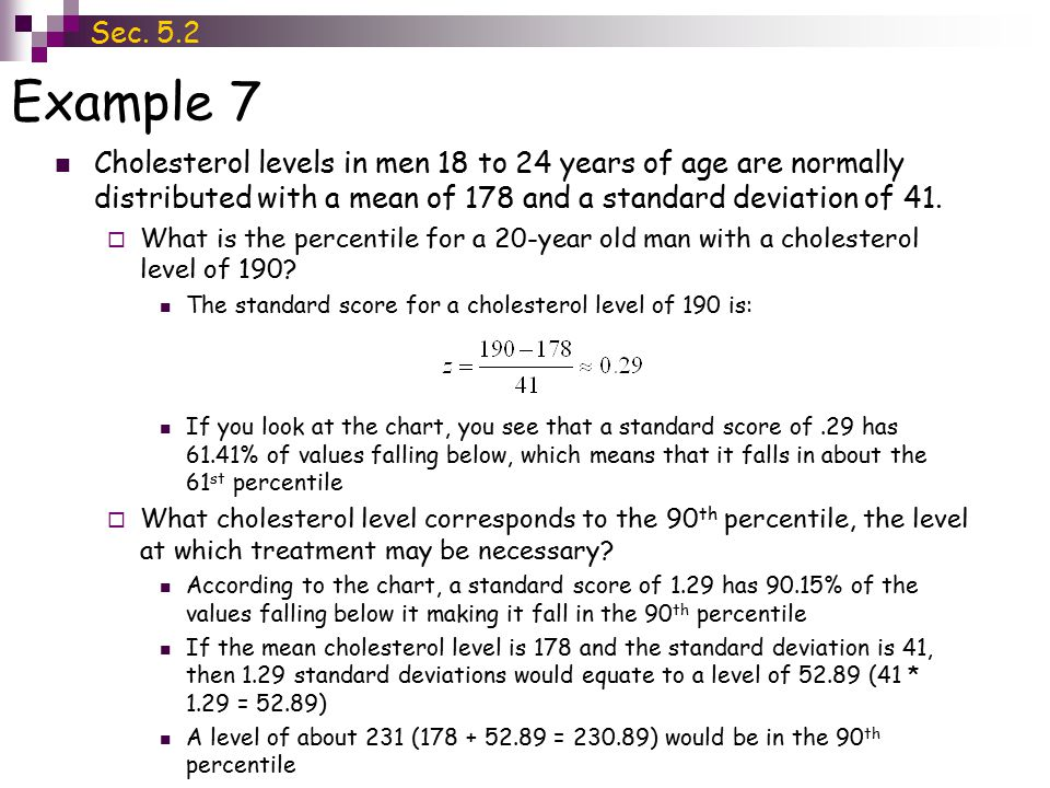 Sec. 5.2 Example 7. Cholesterol levels in men 18 to 24 years of age are normally distributed with a mean of 178 and a standard deviation of 41.