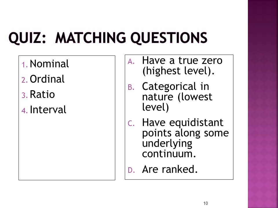 QUIZ: Matching questions