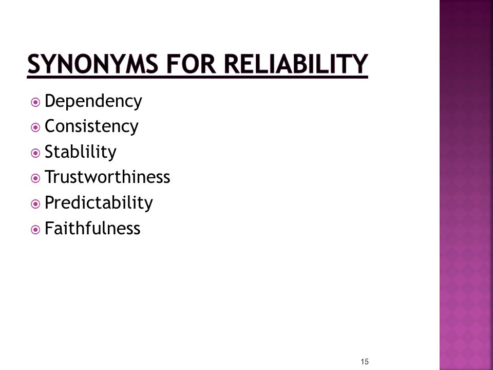 Synonyms for Reliability